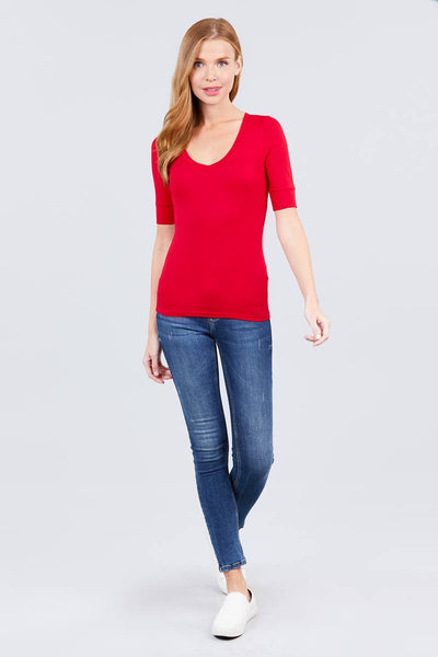Elbow Sleeve V Neck Top