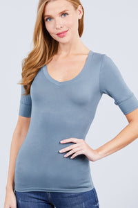 Elbow Sleeve V Neck Top - Kendalls Deals