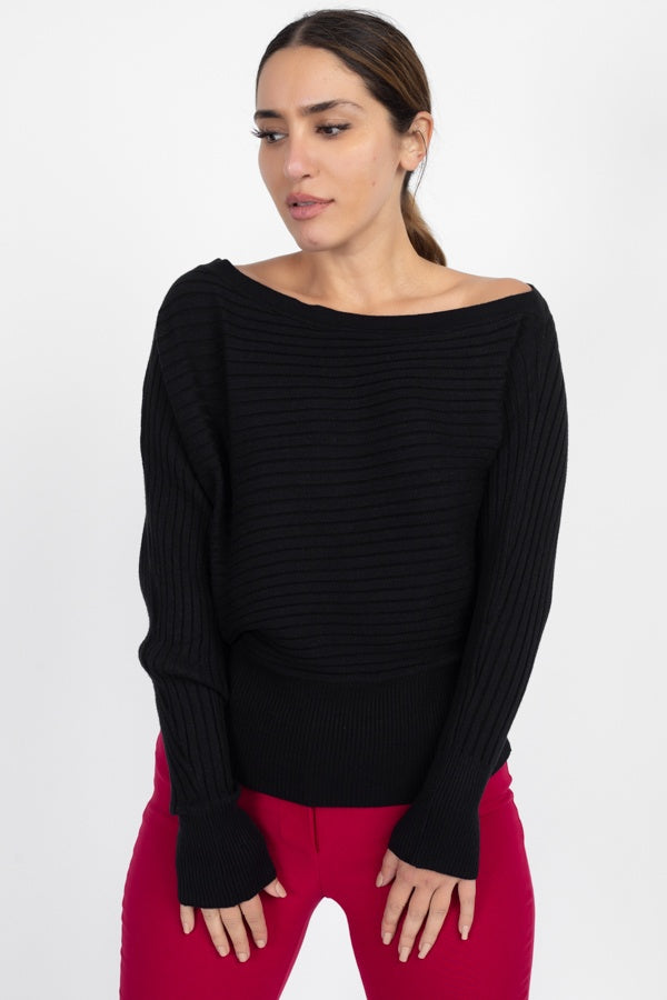 One Shoulder Ribbed Sweater - Kendalls Deals