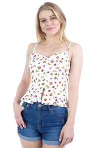 Fruit Print Ruffle Tank Top