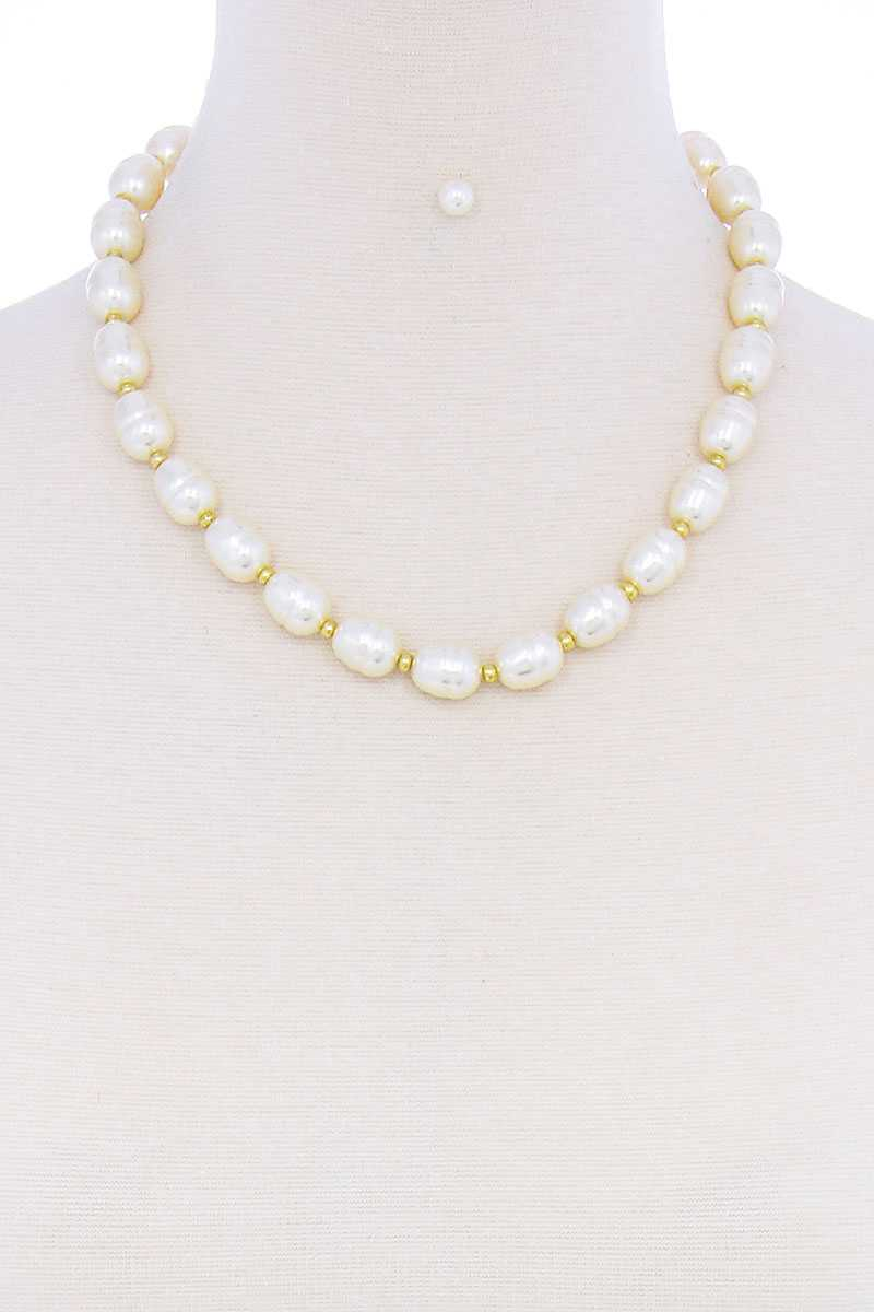 Stylish Fashion Pearl Beaded Necklace And Earring Set - Kendalls Deals
