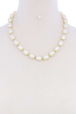 Stylish Fashion Pearl Beaded Necklace And Earring Set