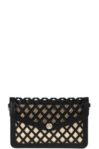 Stylish Diamond Cut Out Envelope Clutch With Shoulder Strap