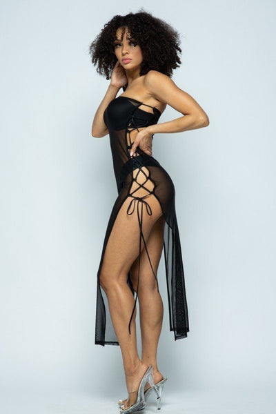 Solid Mesh Side Lace Up Cover Up Dress - Kendalls Deals