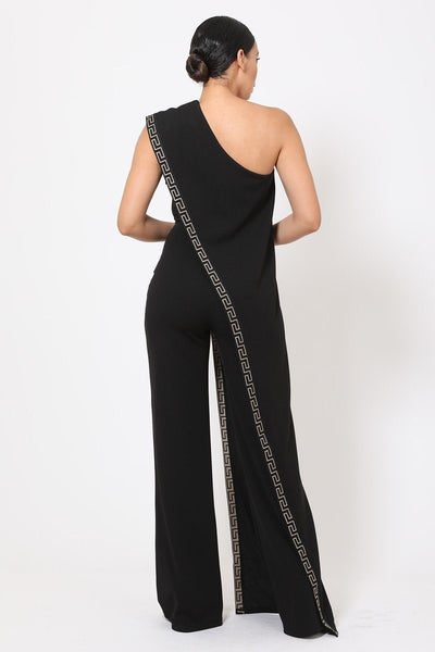 One Shoulder Greek Border Pattern Jumpsuit - Kendalls Deals