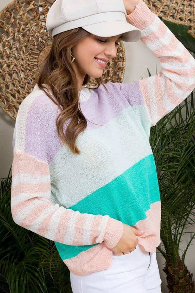 Round Neck Stripe Print Long Sleeve Color Block Sweater - Kendalls Deals