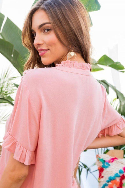 Ruffle Mock Notched Neck Short Sleeve Solid Top - Kendalls Deals