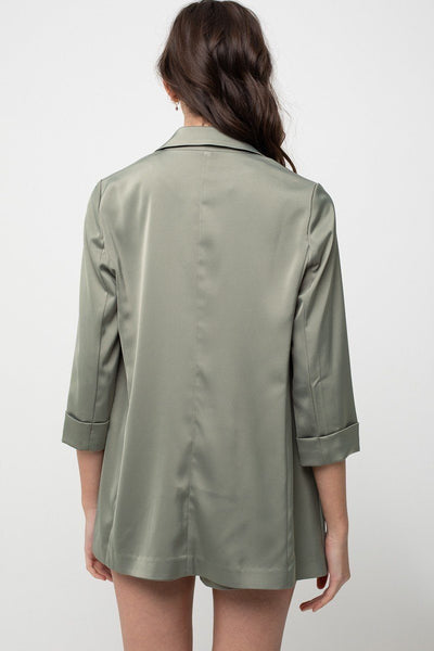 Regular Design Of Open Shiny Satin Blazer - Kendalls Deals