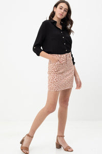 Leopard Printed Cotton Span Mini Skirt - Kendalls Deals