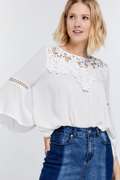 Cute Floral Mesh Lace Accent Yoke Crochet Detailed Tie-back Bell Sleeve Blouse Top - Kendalls Deals