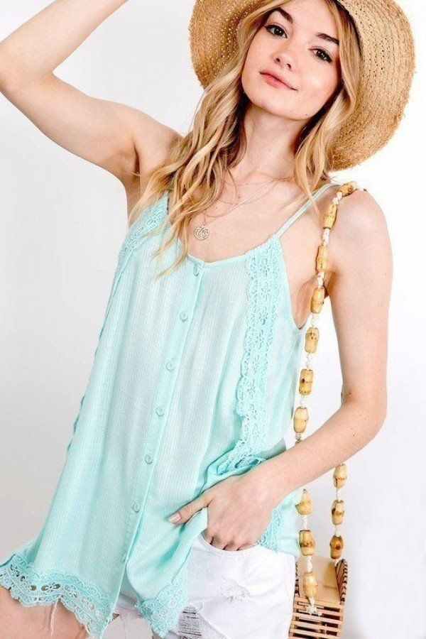 Boho Scallop Lace Trim Detailed Button Down Solid Subtle Textured Slit Side Overlay Layered Cami Top - Kendalls Deals