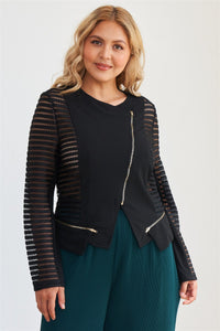 Plus Size Black Mesh Stripped Chiffon Long Sleeve Jacket - Kendalls Deals