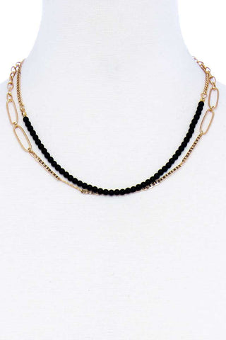 Double Layer Beaded And Chain Necklace - Kendalls Deals