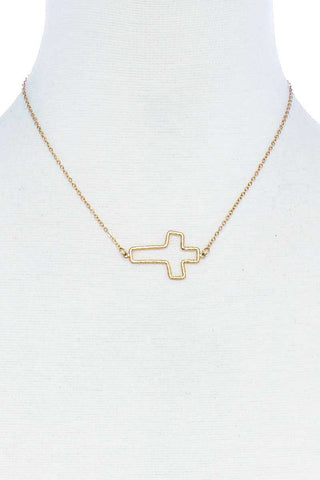 Fashion Cute Cross Out Line Pendant Necklace - Kendalls Deals