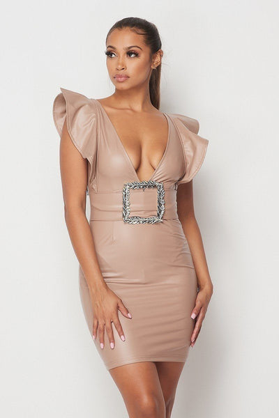 Big Buckle Latex Mini Dress - Kendalls Deals