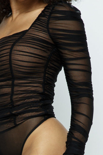Ruched Lslv Wrinkle Bodysuit - Kendalls Deals