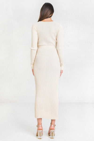 A Ribbed Sweater Knit Maxi Dress