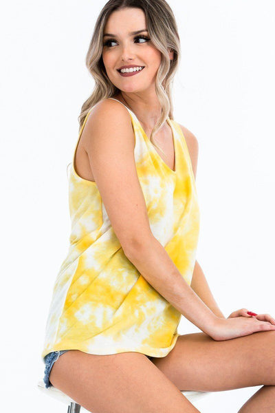 Tie-dye Knit Top Featured In A Scoop Neckline And Sleeveless - Kendalls Deals