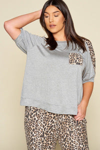 Plus Size Cute Animal Print Pocket French Terry Casual Top - Kendalls Deals