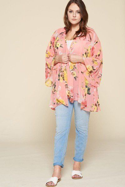 Plus Size Floral Printed Oversize Flowy And Airy Kimono With Dramatic Bell Sleeves - Kendalls Deals