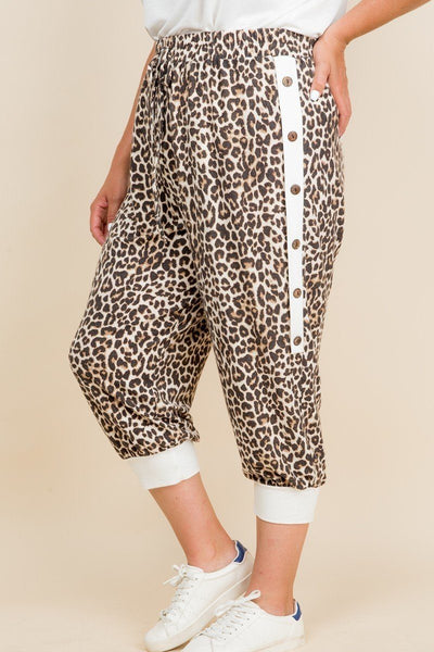 Plus Size Animal Print French Terry Cropped Jogger Pants - Kendalls Deals