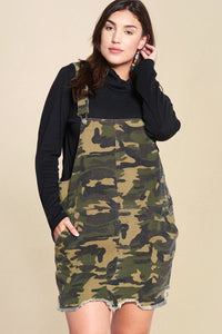 Camouflage Printed Overall Mini Dress Featuring Pockets And Frayed Hem - Kendalls Deals