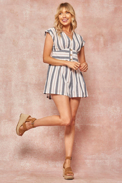 A Striped Woven Romper - Kendalls Deals