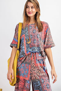 Tribal Printed Short Sleeve Terry Loose Fit Knit Top - Kendalls Deals