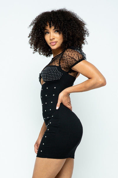 Stretchable Tight Mini Dress With Hot-fix Details And Center Back Open Zippered