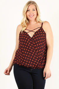 Plus Size Polka Dot Print, Waist Length Top