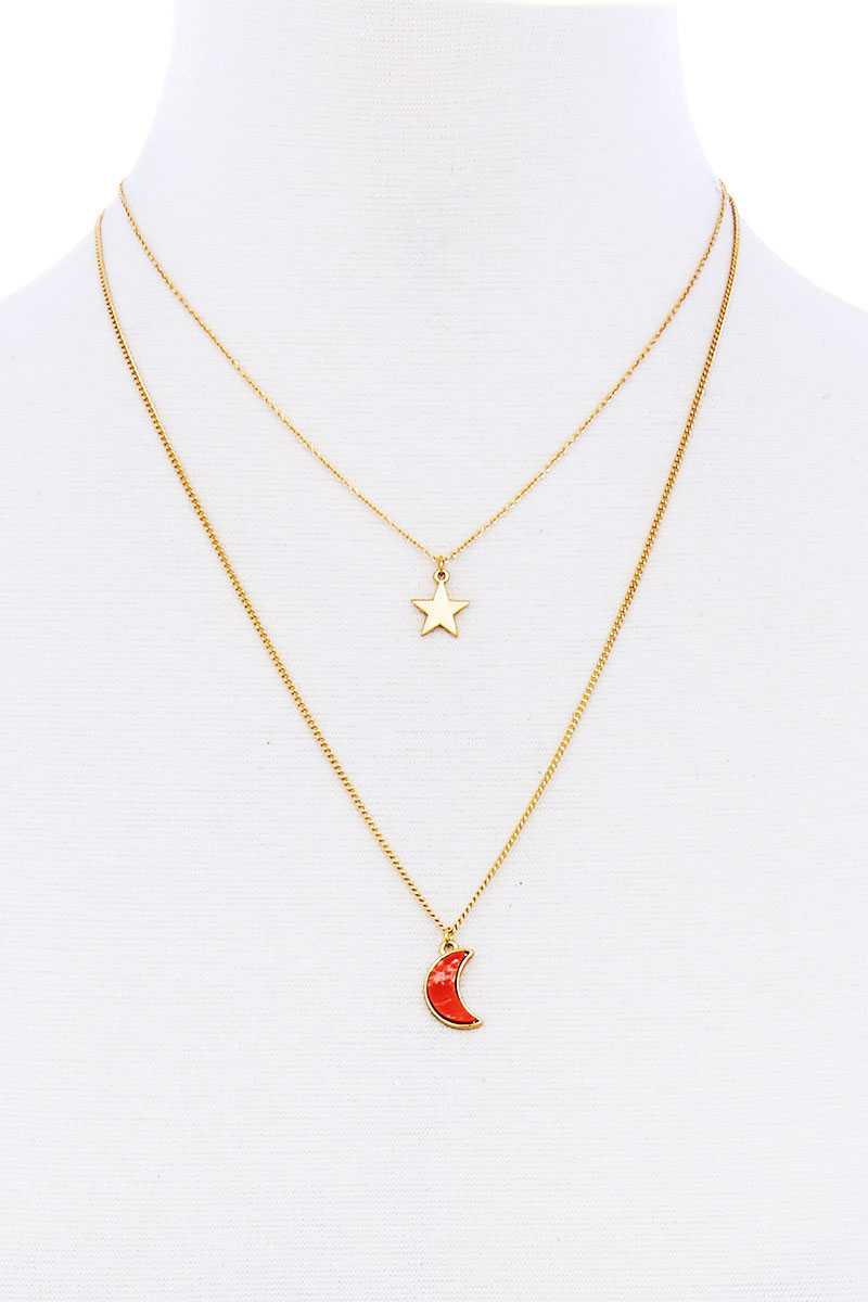 Stylish Double Layer Chain Star And Moon Pendant Necklace - Kendalls Deals
