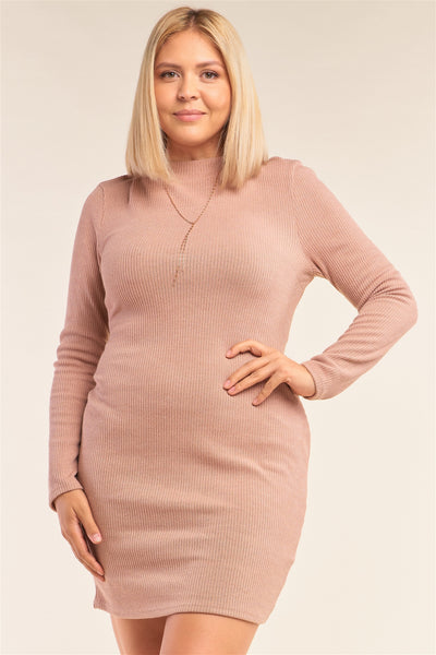 Plus Size Long Sleeve Ribbed Knit Sexy Cut Out Back Mini Dress - Kendalls Deals