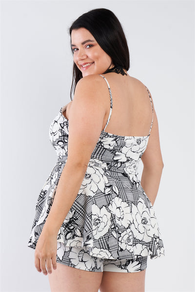 Plus Size Floral Short Skort Mini V-neck Romper - Kendalls Deals