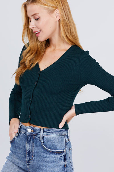 Long Sleeve V-neck W/button Down Crop Cardigan - Kendalls Deals