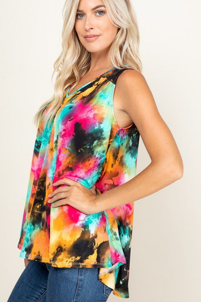 Tie Dye Sleeveless V Neck Swing Tunic Top - Kendalls Deals