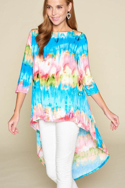Tie-dye Venechia High Low Fashion Top With 3/4 Sleeves - Kendalls Deals