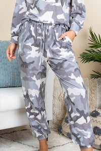Camo Army Printed French Terry Casual Loungewear Joggers - Kendalls Deals
