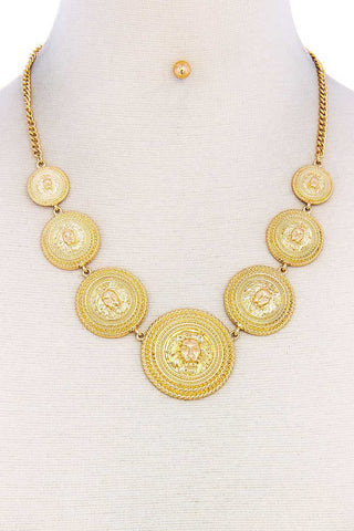 Lion Head Circle Linked Necklace