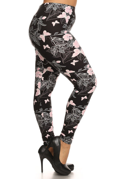 Plus Size Super Soft Peach Skin Fabric, Butterfly Graphic Printed Knit Legging - Kendalls Deals