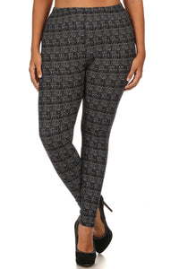 Knit, Pattern Print, Full Length Leggings With Elastic Waist - Kendalls Deals