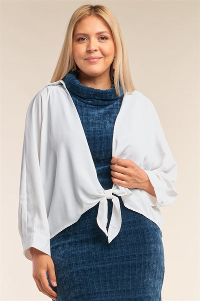 Plus Size White Open Front Relaxed Fit Self-tie Bottom Hem Long Sleeve Collared Shirt Top - Kendalls Deals