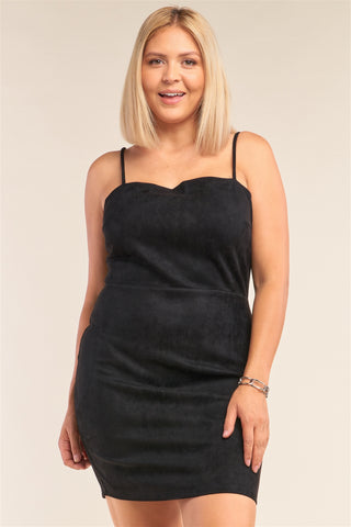Plus Size Suede Sleeveless Fitted Square Neck Mini Dress