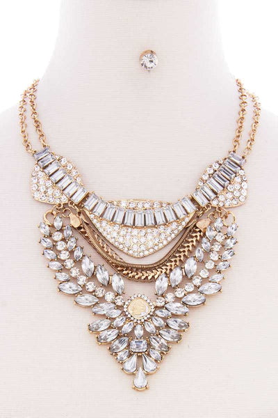 Chunky Antique Stone Boho Bohemian Statement Necklace Earring Set - Kendalls Deals