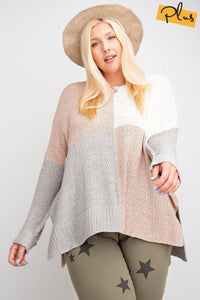 Color Block Long Sleeve Knitted Sweater Top - Kendalls Deals