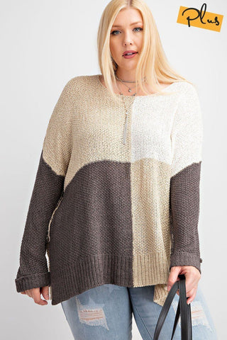 Color Block Long Sleeve Knitted Sweater Top