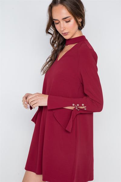 Long Sleeve V-cut Out Solid Mini Dress - Kendalls Deals
