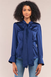 Victorian Indigo Blue Satin Long Sleeve Self-tie Collar Button Down Gathered Blouse - Kendalls Deals