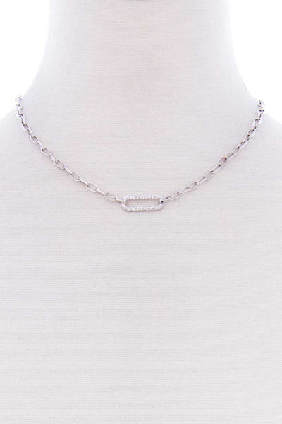 Stone Oval Point Metal Chain Necklace - Kendalls Deals