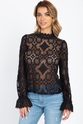 Sheer Floral & Geo Crochet Lace Top - Kendalls Deals