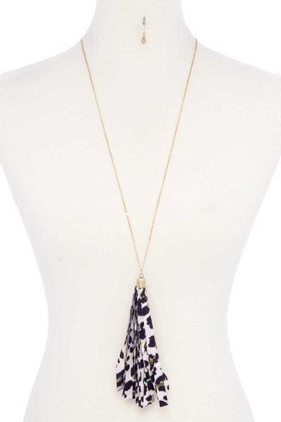 Animal Print Pattern Tassel Necklace - Kendalls Deals